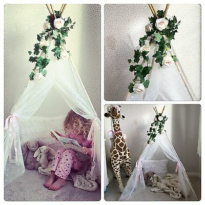 NEW childrens 5ft White Lace Floral Teepee-girls Indoor Pop Up Play Tent Tipi