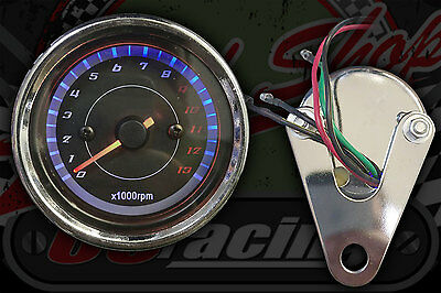 Cafe racer single cyl  taco Rev counter. monkey 60mm. Black face. 0 - 13,000 rpm