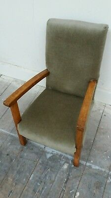 Antique low Arm chair, nursing or childs chair, oak 1930 Art deck period approx