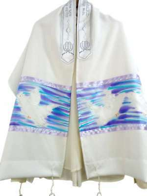 Hand Painted Silk Tallit with Doves Purple & Blue Prayer Shawl