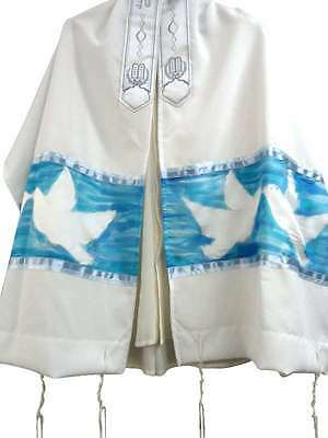 Hand Painted Silk Tallit with Doves in Turquoise Prayer Shawl