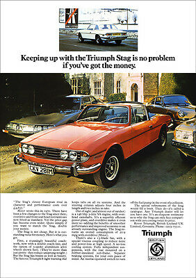 Triumph Stag V8 Retro A3 Poster Print From 70's Advert