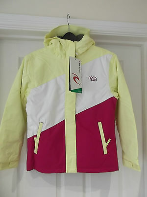 Rip Curl Candy Stripe Snow Jacket NWT Girl's 12 Years Yellow/White/Virtual Pink