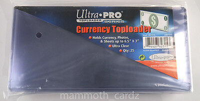 """Ultra Pro Currency Toploader Ultra Clear 6.5"""" x 3"""", 1 packet of 25 Brand New"""