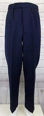 Vtg Blue Pleated Button Fly 1930s Wool Trousers Brace Tabs W28 L30 DI37