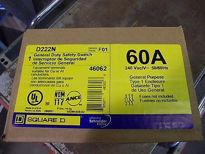 NEW Square D D222N 60A 240V 2 Pole Fusible Type 1 General Duty Safety Switch