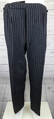 Vtg Striped Button Fly 1940s Wool Morning Trousers Brace Tabs W40 L28 DI43