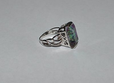 Signed Luc Sterling Silver And Iridescent Crystal Ring Size 9.5
