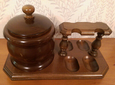 Wooden Combination 4-Pipe Rack & Tobacco Jar