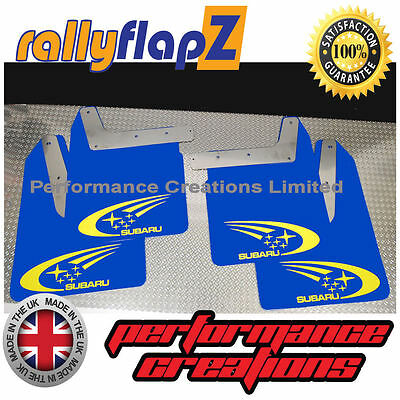 Qty4 Mud Flaps & Fixings SUBARU IMPREZA New Age 01-07 4mm PVC Blue Swoosh Yellow