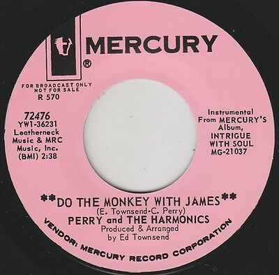 """PERRY & The HARMONICS Do The Monkey With James 7"""" Re. Mod Soul R&B Instro HEAR"""