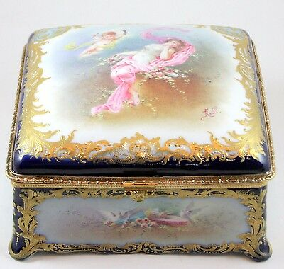 "Sevres-Style Jewelry Box with Raised Gold & Hand-Painted Scene signed ""Rolli"""