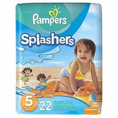 Pampers Splashers Disposable Swim Pants Size 5 22-Count Size 5, 22-Count