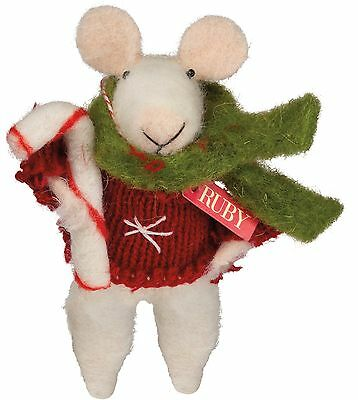 Felted Wool Christmas/  Winter Mini Mouse with Candy Cane and Scarfe