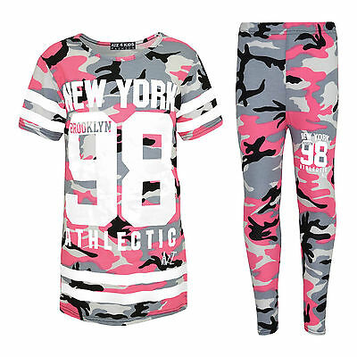 New Girls New York Pink Camo Camouflage Army Tracksuit Top & Leggings Age 7-13
