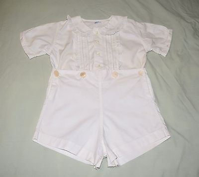 Vintage 1930's Baby Boy's Ivory White One Piece Outfit by A-Lad-N Togs Size 3