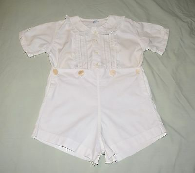 Vintage 50's Baby Boy's Ivory White One Piece Outfit by A-Lad-N Togs Size 3