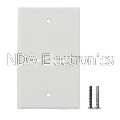 Blank Plastic Face Plate Cover Unbreakable Wall Plate 1 Gang 2 Free Screws White