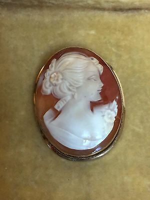 Vintage Cameo Pendant Brooch Pin 585 14K Yellow Gold