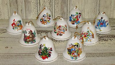 "Disney Vintage ""Grolier"" Christmas Tree Bell Ornament Collectible A Lot Of (9)"