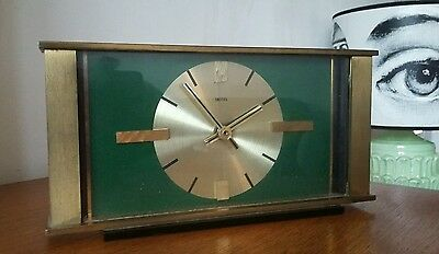 Vintage Mid Century Modern Solid Brass Smiths Emes Mantle Desk Clock