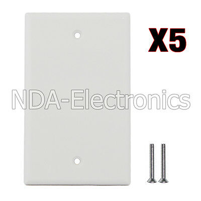 Blank Plastic Face Plate Cover Unbreakable Wall Plate 1 Gang 5 packs White