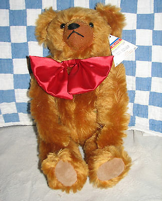 """Deans 16"""" Bright Russet Mohair Jointed Teddy Bear with Red Bow Made in UK"""