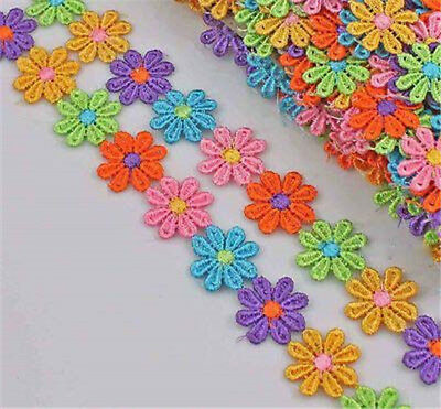 3 Yds Daisy Venice Fabric Sewing Lace Trim Trimmings Applique DIY Craft Colorful