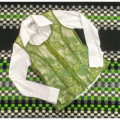 C12410V Wire Horse LTD. Ladies Sheer Lime Green Horse Show Vest NEW