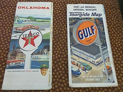 Texas & Oklahoma STATE FORESTS AND PARKS HIGHWAY ROAD MAP 1950's VINTAGE TOURISM