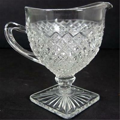 Miss America Diamond Footed Creamer Depression Glass Clear Crystal