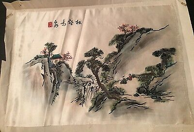 Chinese Waterfall Silk Painting Embroidery Stitched
