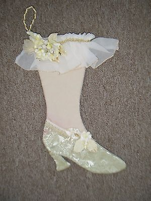 Collectible Shabby Victorian Shoe Boot Christmas Stocking Sage Cream Lace Flower