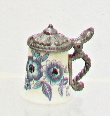 HEIRLOOM EDITIONS Thimble Mini Pewter Lidded Stein White Bisque Blue Flora 1983