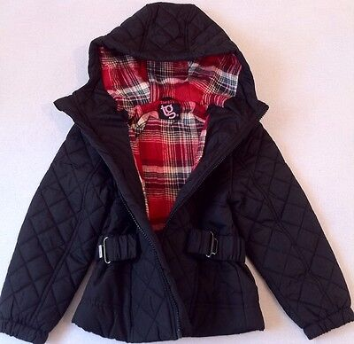 New Girls TG Black Quilted Black Hooded Zip Coat Jacket With Belt Size 4-5 Years