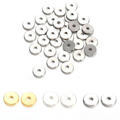50pcs Flat Disc Brass Metal Beads Smooth Donut Loose Spacers 3 Color Beading 8mm