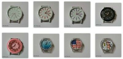 Large Round Watch Face Metal Acrylic Various Designs