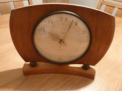 SMITHS Mantel Clock ? 1940s 1950s 1960s old vintage wooden battery powered