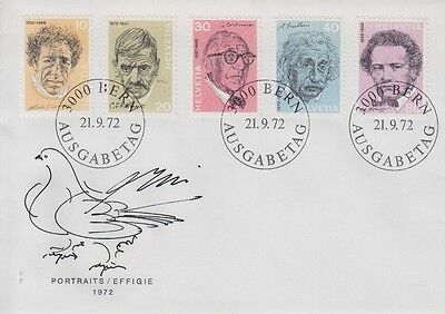 Switzerland 1972 - Personaggi Illustri - Fdc Annullo Speciale