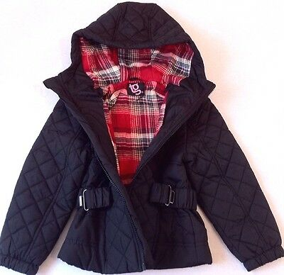 New Girls TG Black Quilted Black Hooded Zip Coat Jacket With Belt Size 2-3 Years