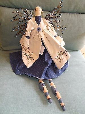 """NWT Prim Angel Doll with Berry Wings-Embroidered  Birds Jacket w/Dress 22"""" Long"""