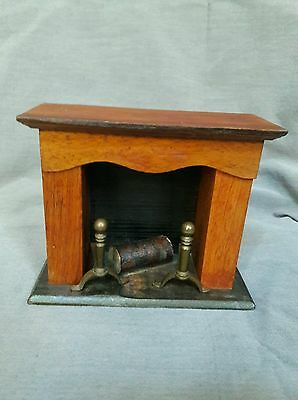 vintage rustic all wood mini fireplace w/andirons Christmas/ dollhouse decor