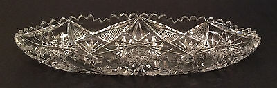 Beautiful Vintage Lead Crystal Cut Glass Oval Relish Serving Dish Plate Tray