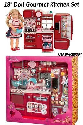 """69pc Doll KITCHEN +Refrigerator+Accessories Set 18"""" American Girl Our Generation"""