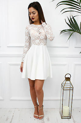 Glamzam New Womens Ladies White Lace Sheer Long Sleeve Skater Mini Party Dress