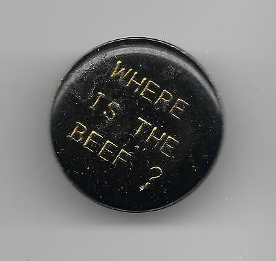Vintage WHERE IS THE BEEF? blk old enamel pin