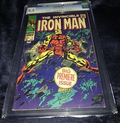Iron Man #1 (May 1968, Marvel) CGC Graded 4.5 Avengers Origin Story White Pages