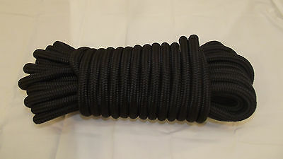 """NEW 1/2"""" (12mm) x 50' Double Braid Static Line, Safety Rope, Black"""