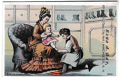 Ezra A. Day Boots and Shoes Manchester, NH Baby's First Shoes Advertising Card
