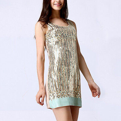 New 1920s vintage gatsby flapper sequin gold pistachio green party dress 10-12